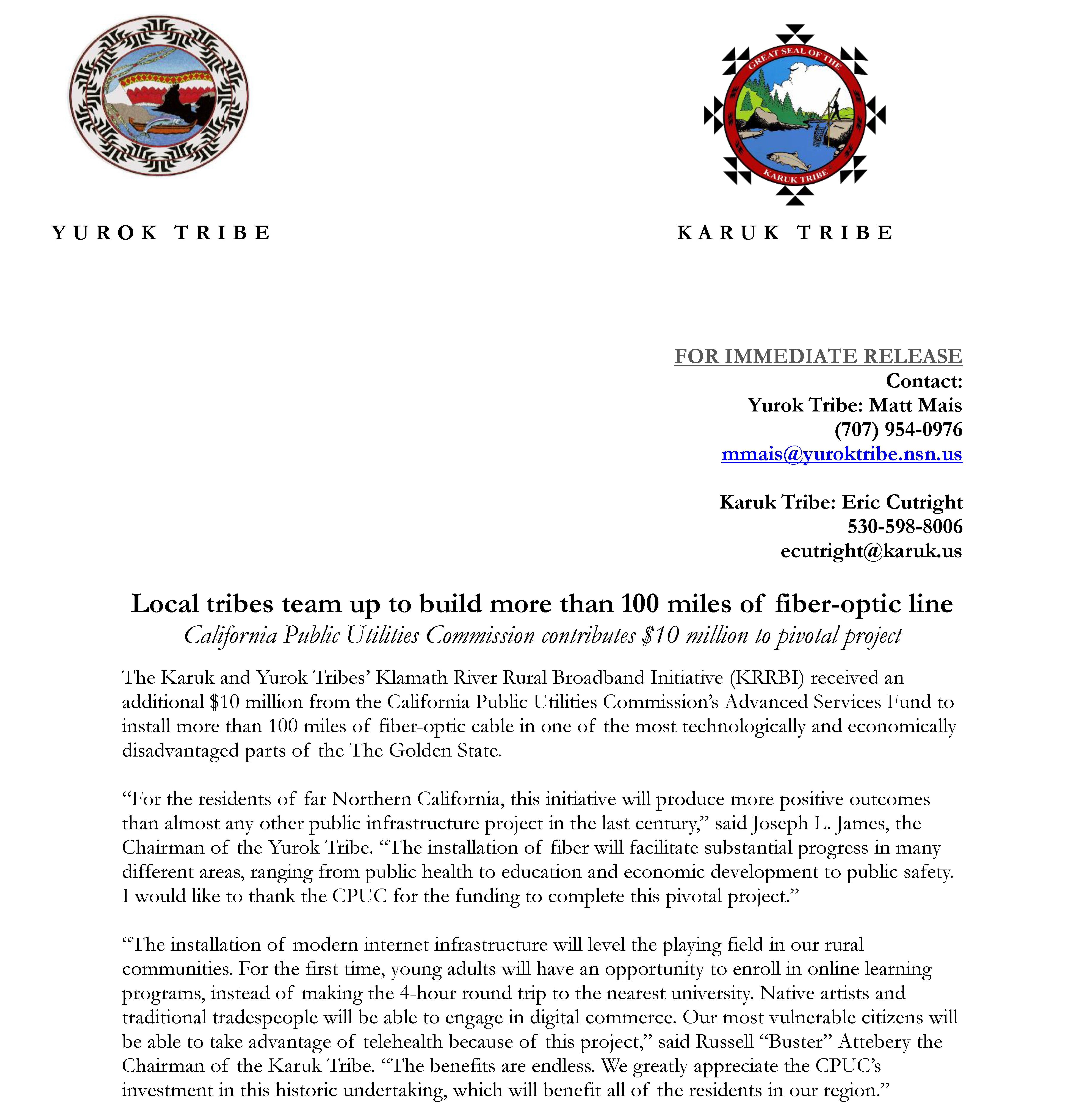 Press release KRRBI Karuk Yurok Page 1